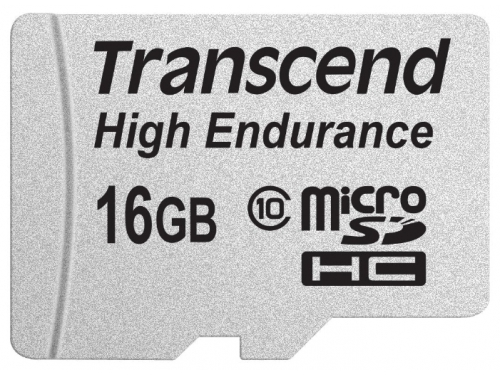Карта памяти Transcend High Endurance  MicroSDHC 16Gb class10  R/W 21/20 MB/s, вид 1