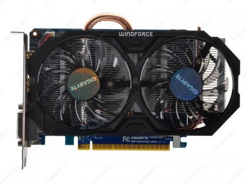 Видеокарта GeForce Gigabyte PCI-E NV GV-N75TOC-2GI GTX750 Ti 2048MB DDR5 128bit, вид 1