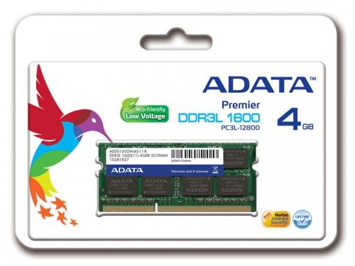 Модуль памяти DDR-3 SODIMM 4096Mb ADATA 1.35V ADDS1600W4G11-B, вид 2