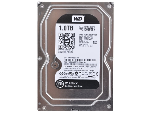 Жесткий диск WD SATA-III 1000Gb 7200, буфер 64Mb, WD1003FZEX Black, вид 3