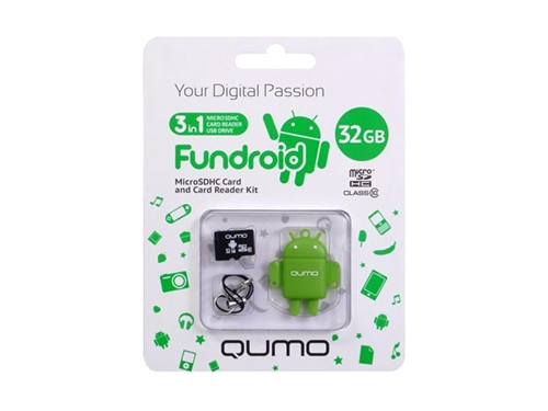 Карта памяти Qumo microSDHC class 10 32GB + Fundroid USB Card Reader Green, вид 1