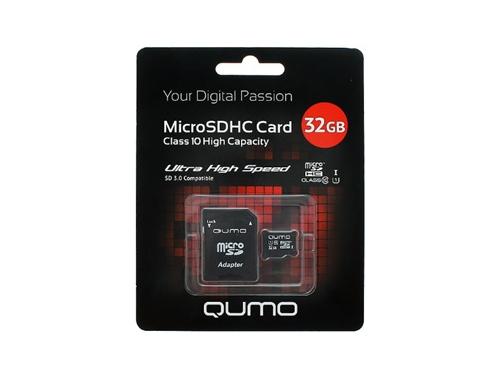 Карта памяти Qumo microSDHC class 10 UHS-I U1 32GB + SD adapter, вид 1