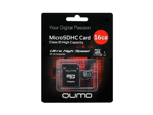 Карта памяти Qumo microSDHC class 10 UHS-I U1 16GB + SD adapter, вид 1