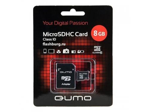Карта памяти Qumo microSDHC class 10 8GB + SD adapter, вид 1