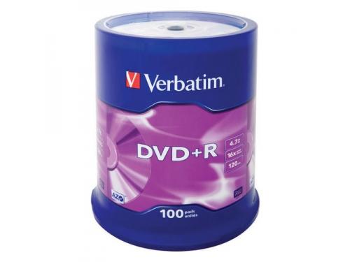Расходные материалы Verbatim DVD+R 4.7ГБ 16x  (100шт., на шпинделе), вид 1