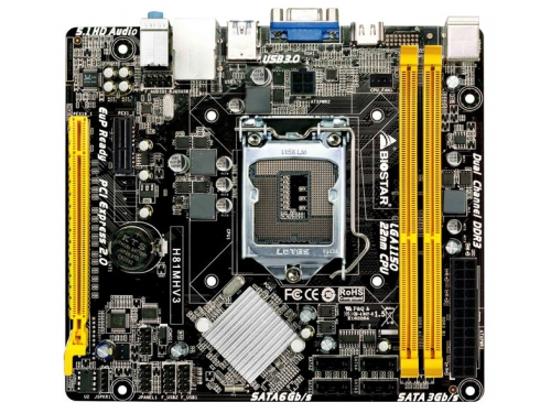 Материнская плата BIOSTAR H81MHV3 Soc-1150 H81 DDRIII mATX USB3.0 HDMI/VGA, вид 1