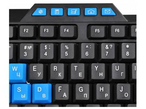 Клавиатура Oklick 750G USB, черно-синяя, вид 4