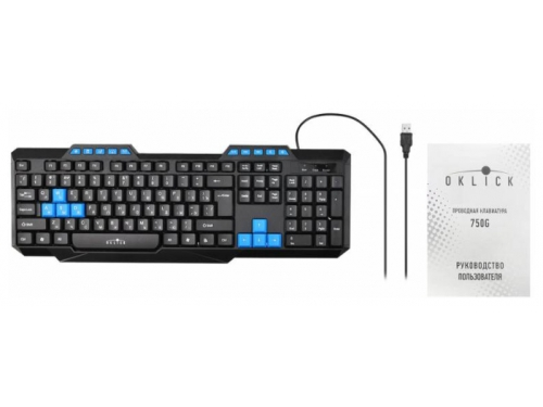 Клавиатура Oklick 750G USB, черно-синяя, вид 9