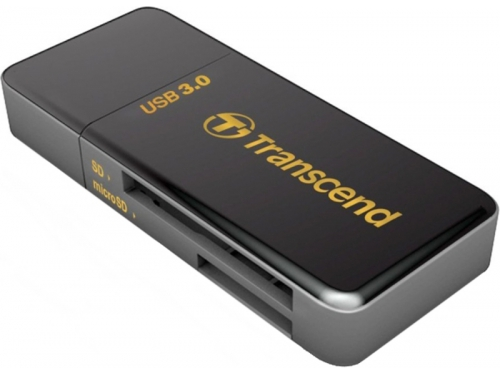 Устройство для чтения карт памяти Картридер Transcend RDF5, SD/microSD, USB 3.0, Черный, вид 1