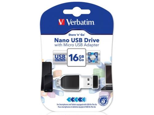 Usb-флешка Verbatim 16Gb Nano OTG USB Flashdrive, вид 4