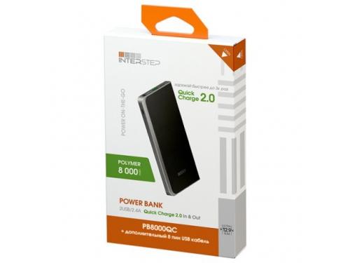 Аксессуар для телефона Внешний аккумулятор InterStep PB8000QC 8000 mAh, черный, вид 2