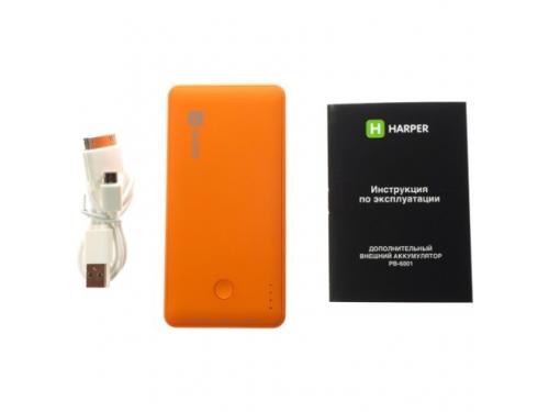 Аксессуар для телефона Внешний аккумулятор Harper PB-6001 (6000 mAh), оранжевый, вид 1
