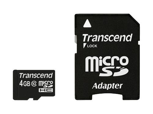 Карта памяти MicroSDHC 4Gb class10 Transcend  +SD адаптер, вид 1