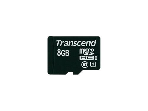 Карта памяти MicroSDHC 8Gb class10 Transcend  UHS-1  +адаптер, вид 1