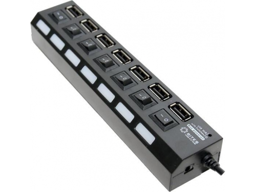 USB-концентратор 5bites HB27-203PBK, блок питания, черный, вид 1
