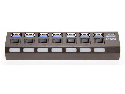 USB-концентратор 5bites HB37-303PBK, блок питания 2А, черный, вид 1