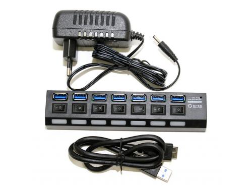 USB-концентратор 5bites HB37-303PBK, блок питания 2А, черный, вид 2