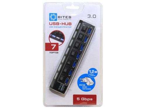 USB-концентратор 5bites HB37-303PBK, блок питания 2А, черный, вид 3