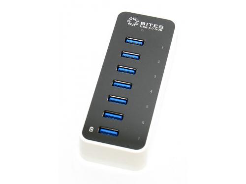 USB-концентратор 5bites HB37-305PWH, блок питания 3А, черно-белый, вид 1