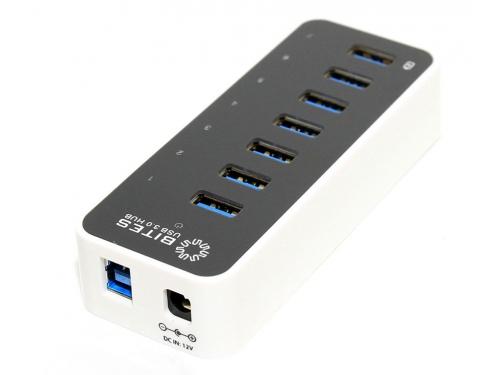 USB-концентратор 5bites HB37-305PWH, блок питания 3А, черно-белый, вид 4