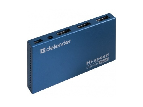 USB-концентратор Defender  SEPTIMA SLIM USB2.0 - 7 портов, + блок питания DC 5В...2А, + кабель USB 2.0 A, вид 3