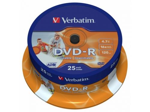 Оптический диск Verbatim DVD+R 4.7 Gb, 16x, Cake Box (25шт), вид 1