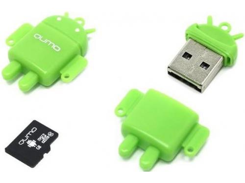 Карта памяти Qumo Fundroid MicroSDHC Memory Card 8Gb Class10 + USB microSD Reader, зелёный, вид 1
