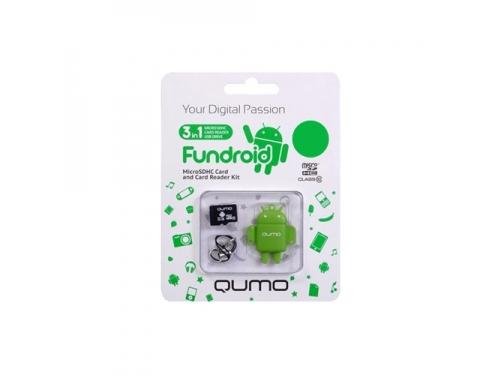 Карта памяти Qumo Fundroid MicroSDHC Memory Card 8Gb Class10 + USB microSD Reader, зелёный, вид 2