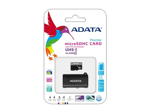 Карта памяти ADATA Premier microSDHC Memory Card 8GbUHS-I U1+ microSD-->OTG/USB Adapter, вид 1