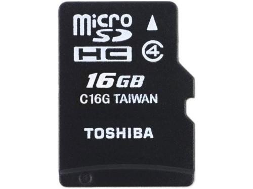 Карта памяти microSDHC 16Gb Class4 Toshiba, вид 1