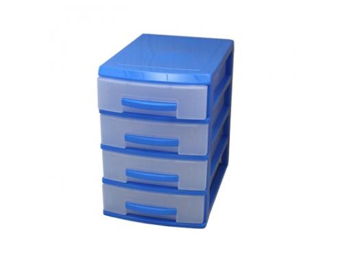 Контейнер для хранения органайзер Росcпласт (мини), 4 ящика, голубой/прозрачный, вид 1