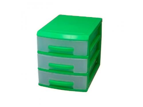 Контейнер для хранения органайзер Роccпласт (мини), 3 ящика, салатовый/прозрачный, вид 1