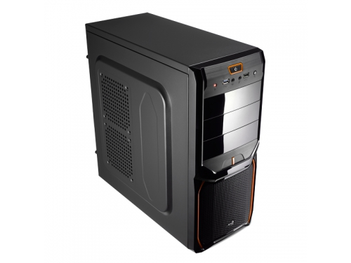 Корпус Aerocool V3X Advance Evil Black Edition, ATX, 600Вт, Midi-Tower, USB3.0, красная подсветка, вид 1