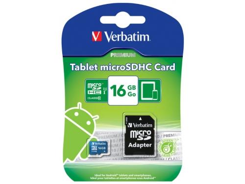 Карта памяти Verbatim Tablet microSDHC Class 10 UHS-1 16GB + SD adapter, вид 2