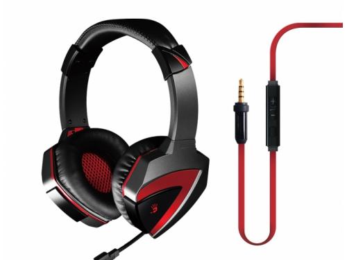 Гарнитура для пк A4-Tech Bloody G500, чёрно-красная (проводная, 2.0ch, 20-2000 Гц, микрофон 50-16000 Гц, провод 2.2м, miniJack), вид 1