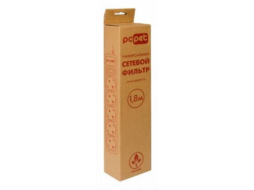 Сетевой фильтр PC Pet на 5 розеток, 1.8 м, подкл. к UPS (AP01006-E-G), серый, вид 2