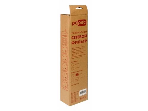 Сетевой фильтр PC Pet на 5 розеток, 1.8 м, подкл. к UPS (AP01006-E-G), серый, вид 3