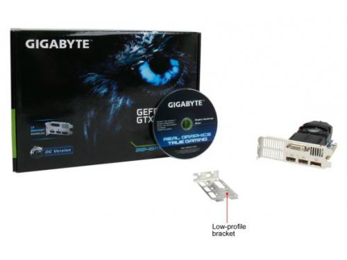 Видеокарта GeForce Gigabyte GeForce GTX 750Ti, 2Гб GDDR5, DVI-I / 2xHDMI / DP, низкопрофильная, (GV-N75TOC-2GL), вид 5