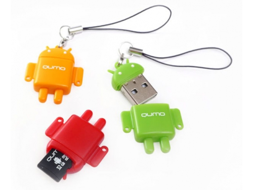 Карта памяти Qumo microSDHC class 10 8GB + Fundroid USB Card Reader, вид 3