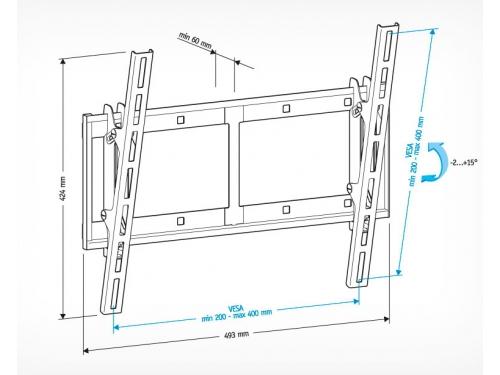 Кронштейн ТВ Holder LCD-T4609-B для ЖКТВ, чёрный (32-65'', до 60 кг, наклон), вид 2
