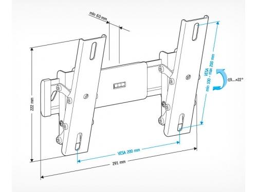 Кронштейн для телевизора Holder LCD-T2611-B для ЖКТВ, черный (22-47'', до 30 кг, наклон), вид 2