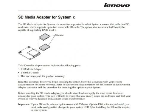 Контроллер Lenovo IBM SD Media Adapter with 2 Blank SD Media for System x (00ML706), вид 2