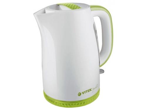 Чайник электрический Vitek VT-1175, белый с зелёными вставками, вид 1
