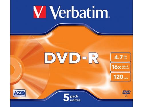 Оптический диск DVD-R Verbatim 4.7 Gb, 16x, Jewel Case (5шт), вид 1