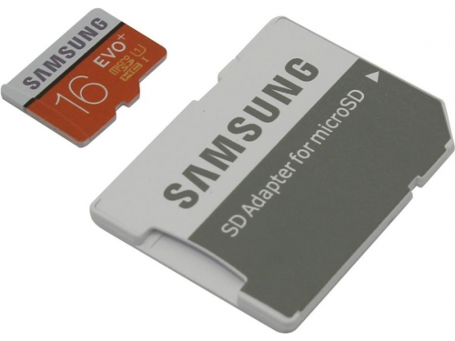 Карта памяти Samsung 16Gb class10 Evo Plus, с адаптером, вид 1