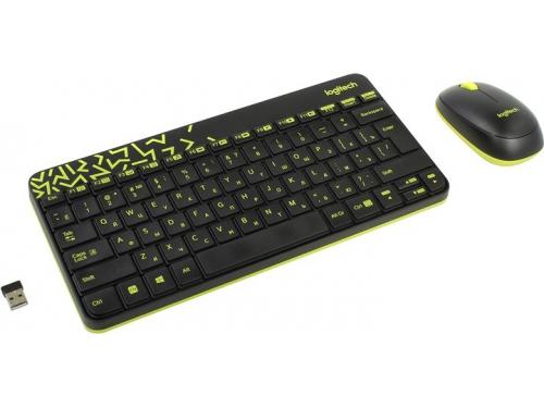 Комплект Logitech Wireless Combo MK240 Nano, черно-салатовая, вид 1