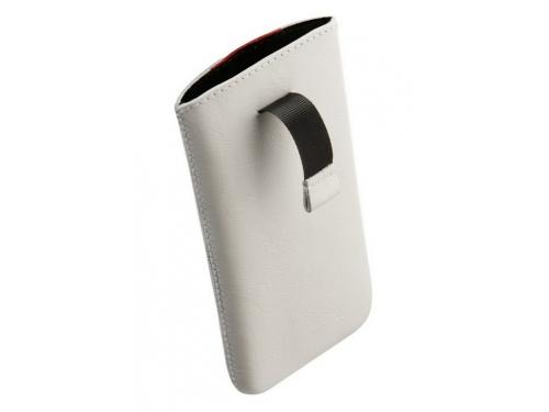 Чехол для смартфона Time с ремешком, комбинированный, размер 14 (62х121х11 мм), искусственная кожа, белый с красным, вид 5