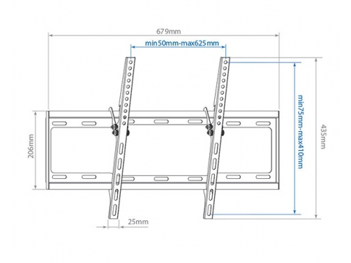 Кронштейн Arm Media STEEL-2, для ЖК-телевизора, черный, 26-70'', до 35 кг, VESA 600x400, вид 2