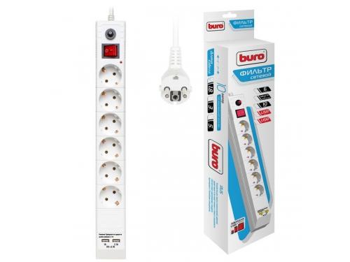 Сетевой фильтр Buro BU - SP1.8_USB_2A - W, белый, вид 1