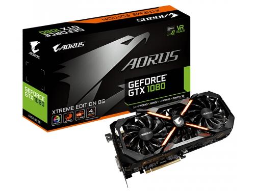 Видеокарта GeForce Gigabyte GeForce GTX 1080 1784Mhz PCI-E 3.0 8192Mb 10206Mhz 256 bit DVI 3xHDMI HDCP (GV-N1080AORUS X-8GD), AORUS xtreme edition, вид 1